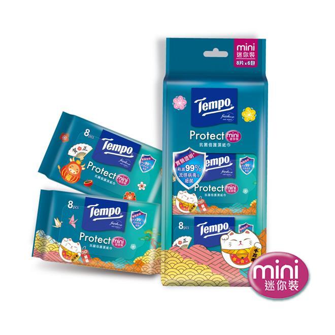 TEMPO 抗菌倍護濕巾 隨身袖珍包(8抽6包/組) *8組