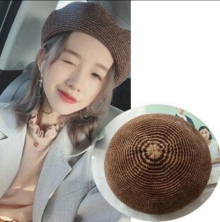麻吉小舖:韓版新款燈芯絨條紋貝雷帽針織百搭休閒畫家帽小清新貝蕾帽