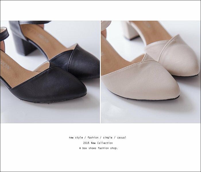 【KDW902】MIT台灣製 韓版性感風格 質感皮質舒適繞踝 瑪莉珍尖頭鞋 5cm粗高跟鞋 4色 2