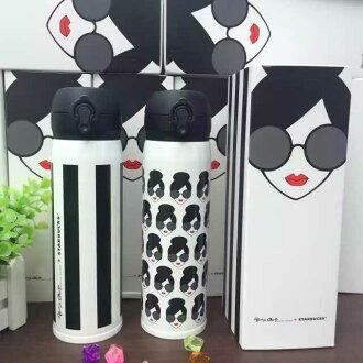*vivi shop* 星巴克(韓國定制創意logo)愛麗絲頭像款 & 愛麗絲條款420ML 彈跳蓋式 外貿單 採安全不鏽鋼304 保溫杯 隨行杯 咖啡杯 保溫瓶+贈杯套 -(-附禮盒裝)