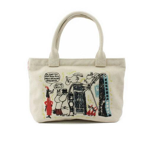 sightme看過來購物城:白紅款【日本進口正版】嚕嚕米MOOMIN刺繡帆布提袋便當袋手提袋幕敏家族-503127