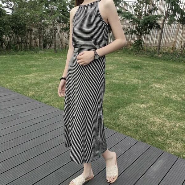 套裝素色條紋背心綁帶一片裙長裙兩件套套裝【MY2363】BOBI0705