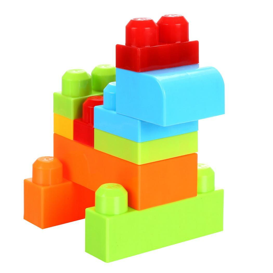 50 Piece Colorful Blocks First Builders Blocks Bag Early Learning Assorted Developmental Puzzle Toys 2