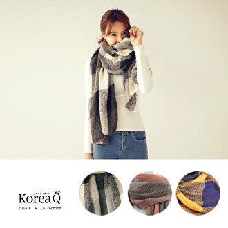 圍巾 韓系簡約大格紋粗針織披肩圍巾(預+現) Korea Q【14100091】