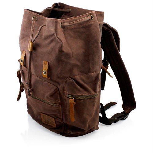 Men's Outdoor Sport Vintage Canvas Military BackBag Shoulder Travel Hiking Camping School Bag Backpack - Coffee 2