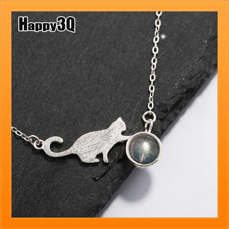 S925純銀項鍊月光石項鍊可愛喵咪短項鍊鎖骨項鍊森林系女孩-貓咪項鍊【AAA2628】