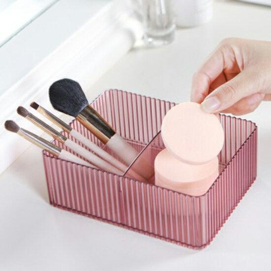 ●MYCOLOR●透明立體紋路收納盒書桌整理盒桌面塑料盒子梳妝台化妝品浴室防水廚房【N430】