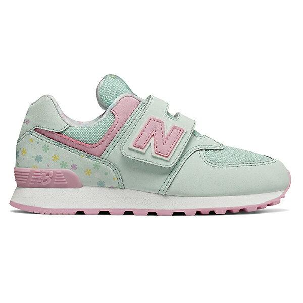 Shoestw【YV574KCS】NEW BALANCE NB574 運動鞋 黏帶 中童鞋 Wide 淺綠粉 小花 0