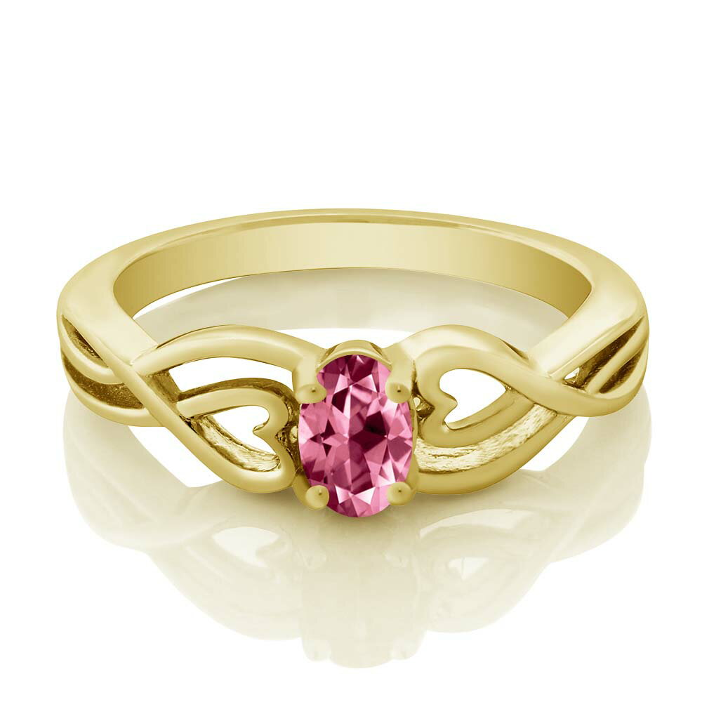 18K Yellow Gold Plated Silver Solitaire Ring Set with Pink Topaz from Swarovski 1