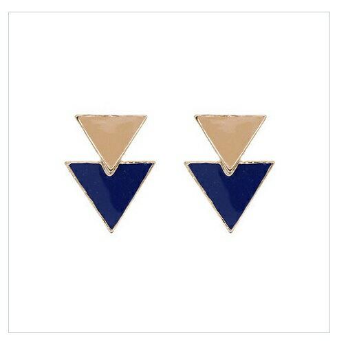 倒三角摩登垂墬式耳環 (米X海軍藍)La Mode Triangle Dangle Earrings - Beige x Navy