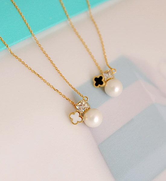 四葉草Silver 925珍珠項鍊Four Clover & Petit Pearl Necklace*silver925
