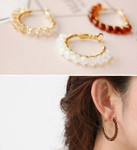 Swarovski 水晶圈狀夾式耳環(S)Swarovski wrap hoop Earrings