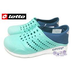 現貨+預購【巷子屋】義大利第一品牌-LOTTO樂得 女款二代透氣排水潮流洞洞鞋 情侶鞋 [5375] 湖水綠