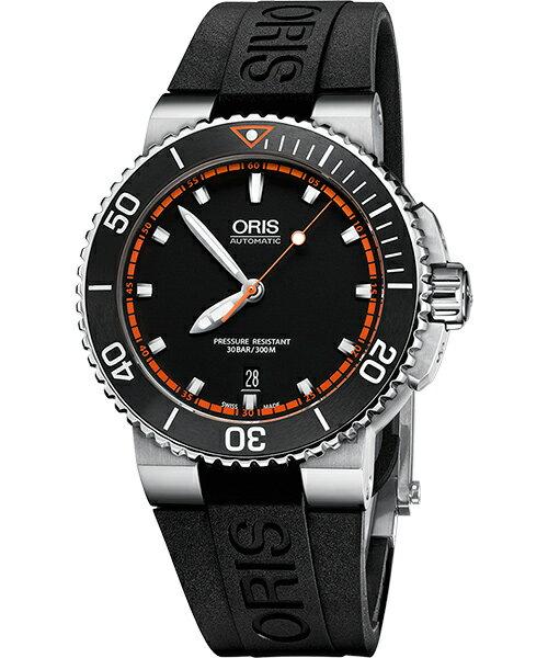 ORIS 豪利時 Aquis 時間之海系列潛水機械腕錶 0173376534128-0742634EB 黑 橘 43mm