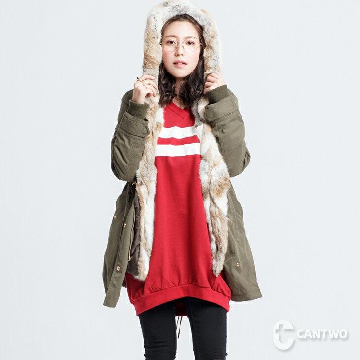can兔毛兩穿式連帽外套(共二色) 1