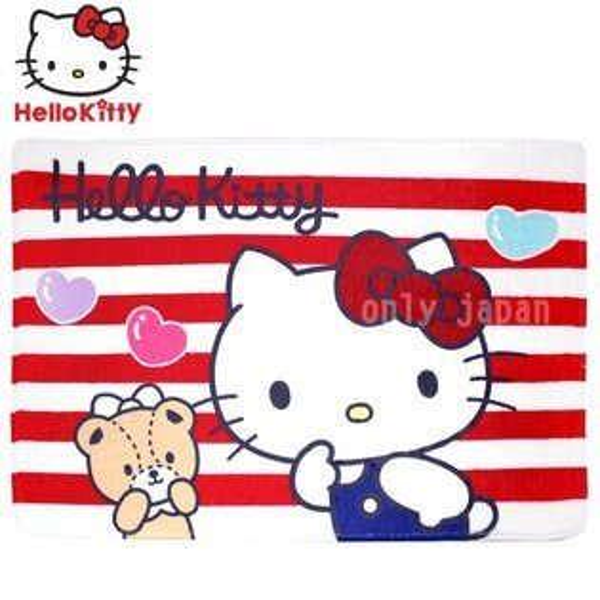 【真愛日本】18071200002絨毛地墊-KT小熊條紋三麗鷗kitty凱蒂貓腳踏墊吸水地墊地毯