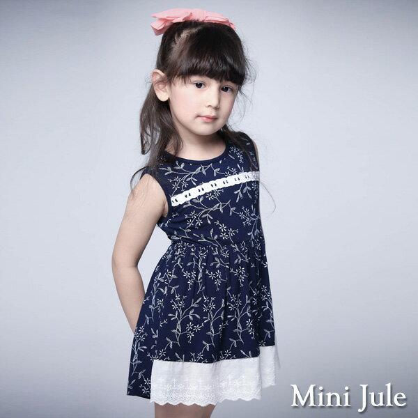 《Mini Jule 童裝》洋裝 小白花拼接布蕾絲綁帶無袖洋裝(寶藍)