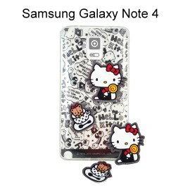 Hello Kitty 拭鏡貼透明軟殼 [塗鴉黑] Samsung Galaxy Note 4 N910U【三麗鷗正版授權】