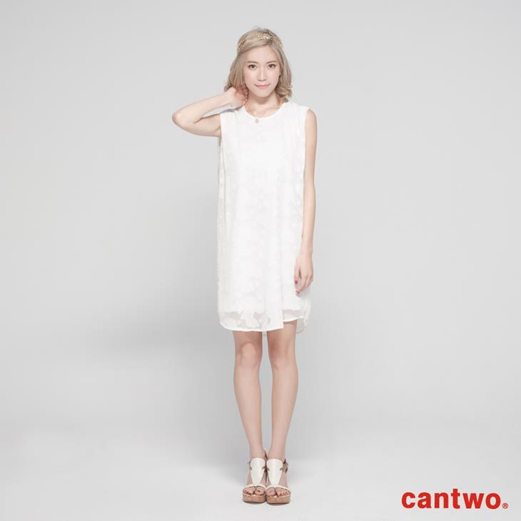 cantwo氣質剪花雪紡洋裝(共二色) 0