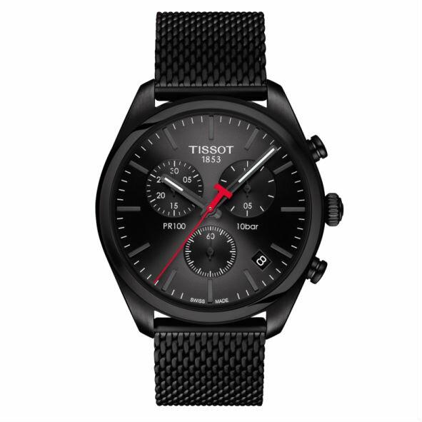 TISSOT天梭T1014173305100PR100三眼經典機械石英腕錶-皮帶款黑41mm