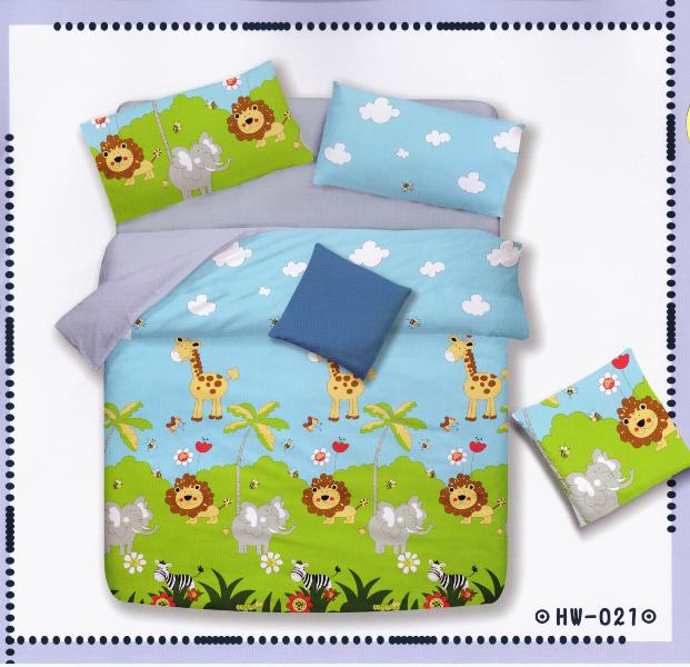 ✧臺灣製✧舒柔棉磨毛超細纖維床包組《HW-0021》5X6.2尺雙人床包組+兩用被 四件組◤彩虹森林◥