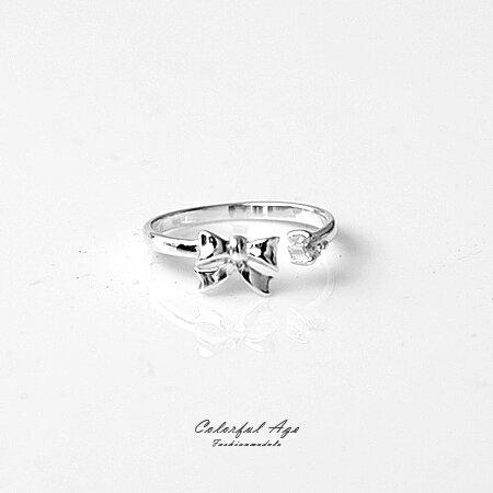 925純銀戒指 蝴蝶結單鑽活動式線戒尾戒 抗過敏材質 微調尺寸 柒彩年代【NPC4】