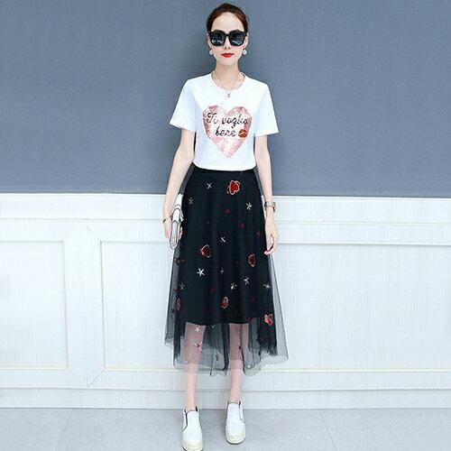 韓版刺繡T恤上衣網紗半身裙兩件套裝(圖片色S~2XL)【OREAD】 - 限時優惠好康折扣