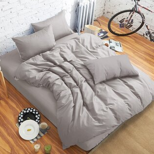 哇哇購:舒柔時尚精梳棉三件式枕套床包組雙人灰色哇哇購