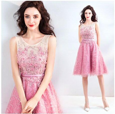天使嫁衣【AE5680】粉色璀燦亮片花朵收腰美感短禮服˙預購訂製款