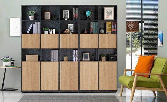 【尚品家具】 JF-318-05 布拉格1.35尺鐵刀橡木紋下開門書櫃