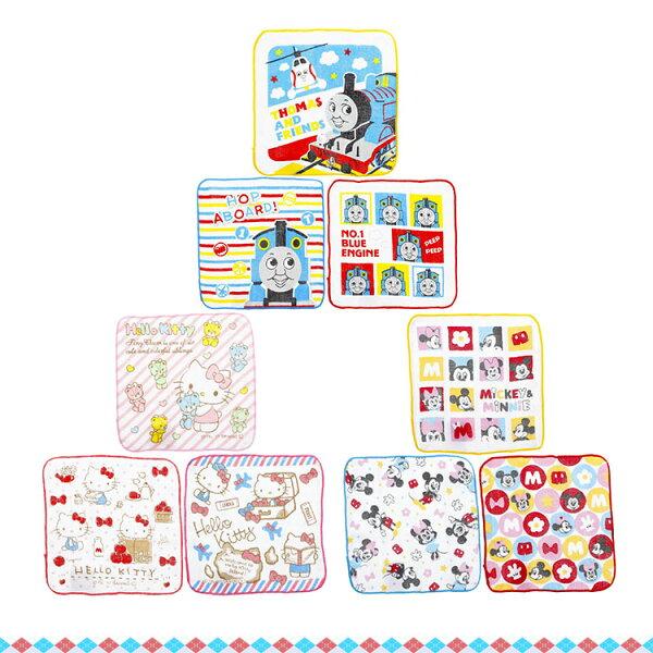 日本進口迪士尼米奇米妮湯瑪士凱蒂貓紗布方巾Q版小花圓點3入100%純棉393956