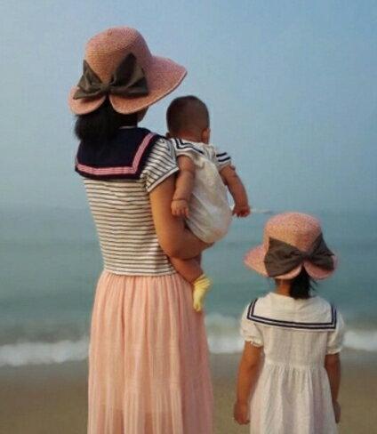 母女親子款兒童帽草帽漁夫帽沙灘帽蝴蝶結遮陽帽  可折疊