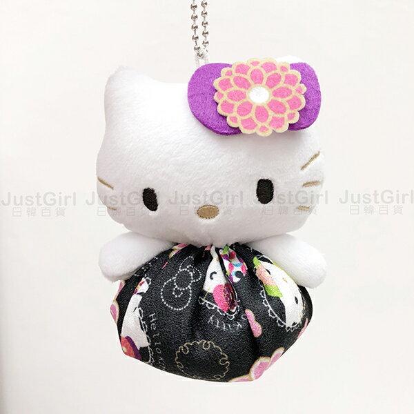 HELLO KITTY 娃娃吊飾 沙包玩偶 絨毛娃娃 鑰匙圈 日式和風 玩具 正版日本進口 JustGirl