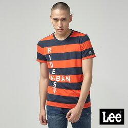 Lee 條紋UR短袖圓領TEE/UR橙紅色