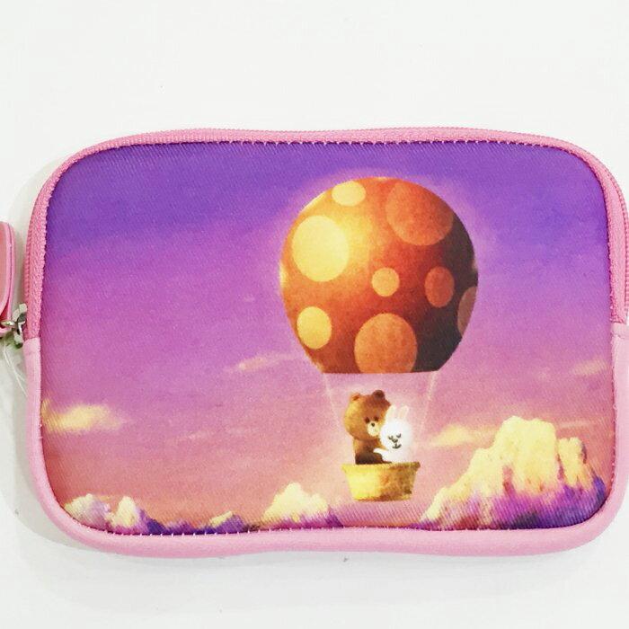 LINE 兔兔 熊大 零錢包 緩衝包 保護套 手機套 置物包 熱氣球 文具 配件 正版日本進口 * JustGirl *