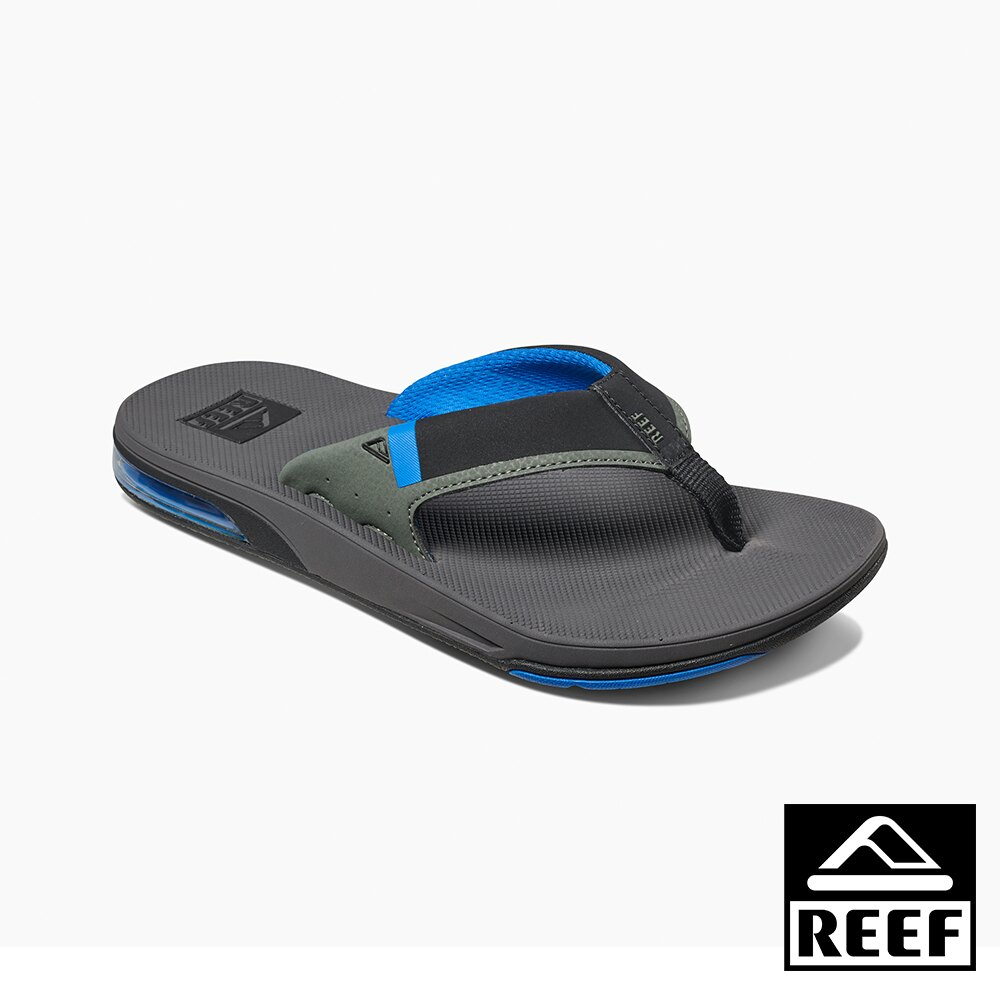 【新品上市迎新送舊↘】REEF 氣墊開瓶器升級版 一體成形織帶 舒適好穿防滑耐磨 經典男款夾腳人字拖鞋 . 灰藍