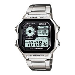 CASIO 雷霆世界武士休閒數位錶-鋼帶(AE-1200WHD-1A)