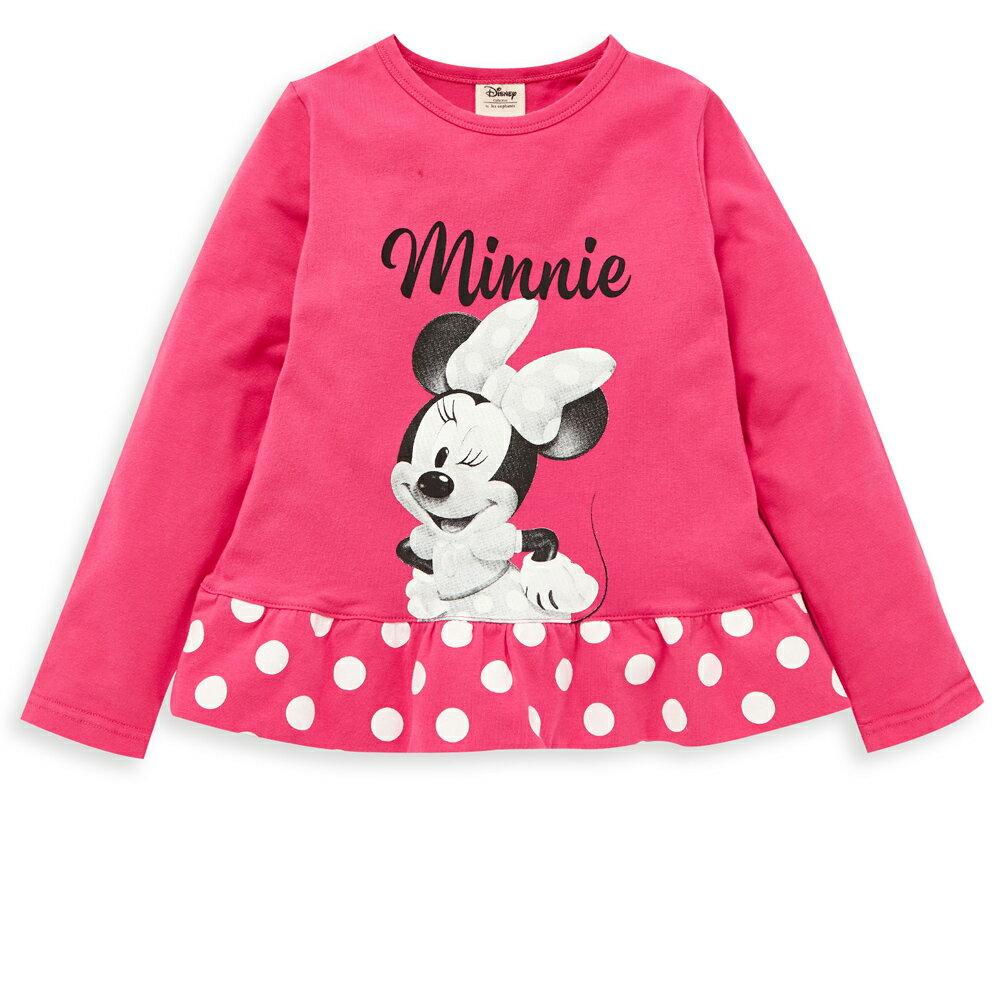Disney 米妮系列小甜心荷葉上衣-熱情粉 - 限時優惠好康折扣