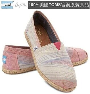 【Cadiz】美國正品 TOMS 粉紅夏季條紋亞麻平底鞋 [Pink Summer Stripes Women\