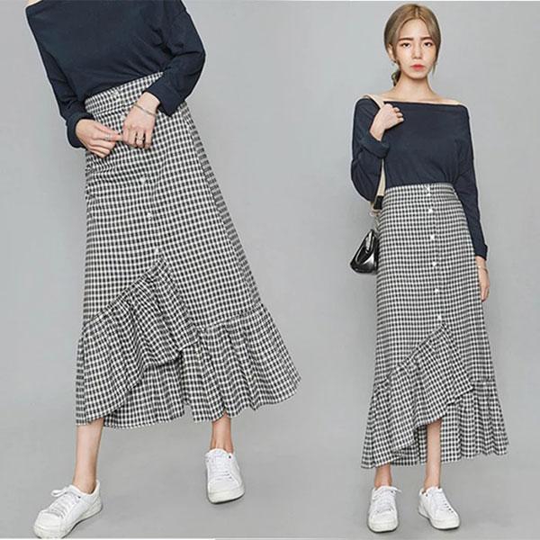 格子 魚尾裙 黑白格紋 長裙 荷葉 蛋糕裙 不規則 顯瘦 韓 ~  好康折扣