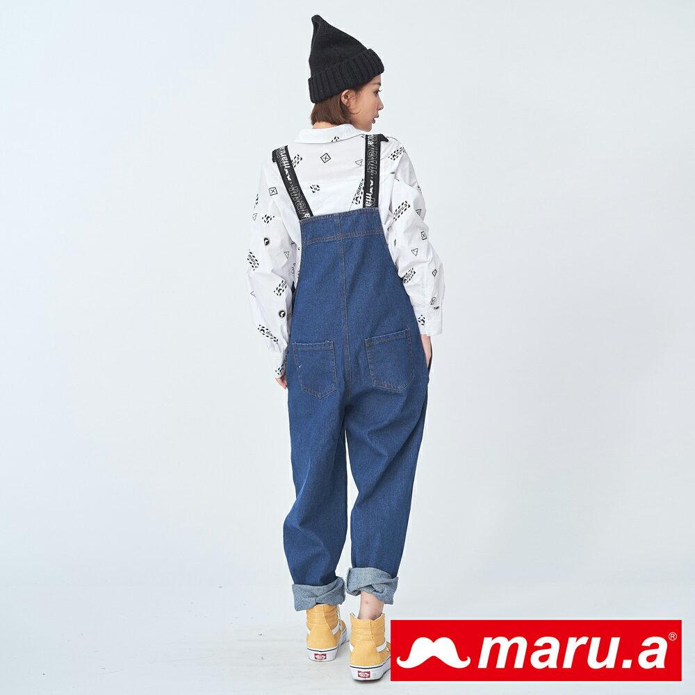 2千現折400↘搶券再折▶ 【maru.a】個性織帶寬鬆吊帶褲(深藍)▶滿800免運