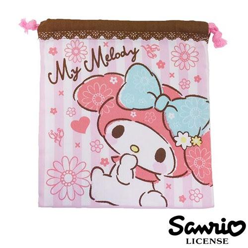 粉紅款【日本進口正版】 美樂蒂 My Melody 多功能束口袋 收納袋 抽繩束口袋 - 416676