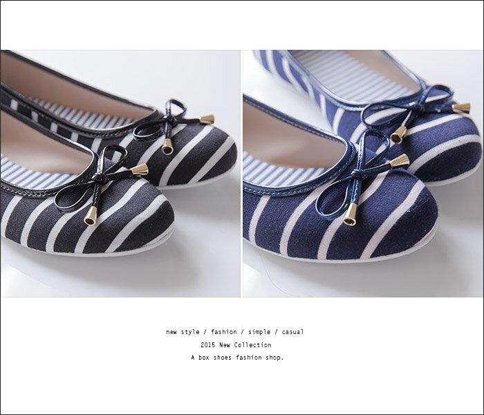 格子舖*【KPWB826】MIT台灣製 蝴蝶結海軍條紋學院風 圓頭平底包鞋 娃娃鞋 懶人鞋 3色 1