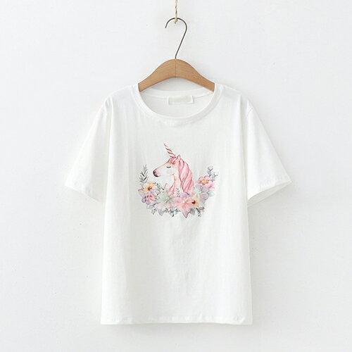 *ORead*日系森女圓領印花短袖T恤(3色F碼) 1