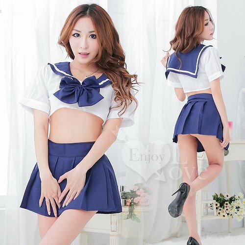 新款性感正宗藍色水手服制服蝴蝶結學生服角色扮演超短百褶裙短裙套裝 f76 特價現貨下標區