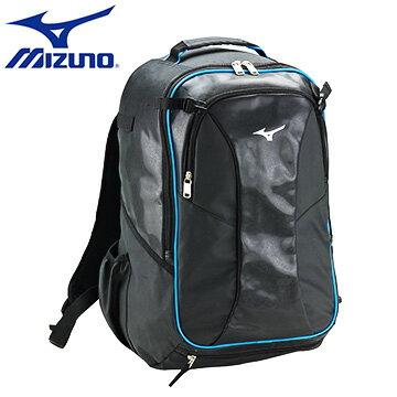 1FTD610509〈黑X水藍〉輕量防水立體紋皮革 棒壘裝備背袋【美津濃MIZUNO】