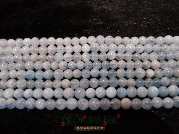 白法水晶礦石城巴西天然-海藍寶4mm礦質串珠條珠首飾材料