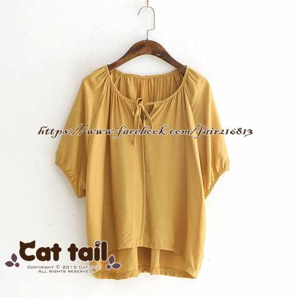 《貓尾巴》LZ-03238簡約豎條紋圓領短袖上衣(森林系日系棉麻文青清新)
