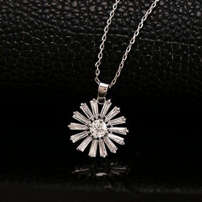 ~純銀項鍊 鍍18K金鑲鑽吊墜~精美花朵形狀情人節生日 女飾品73dn118~ ~~米蘭