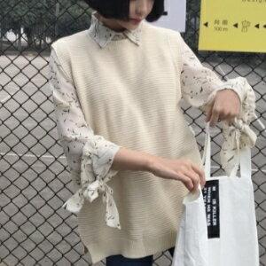 美麗大街~KA322~ 2017春裝 韓國寬鬆顯瘦氣質繫帶打結長袖碎花襯衫
